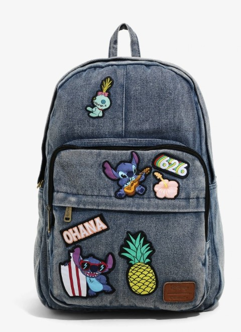 Lilo & Stitch Patched Denim Backpack  USA Exclusive