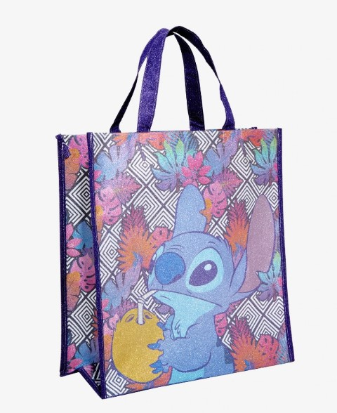 Disney Lilo & Stitch Tropical Leaves Sparkle Reusable Tote