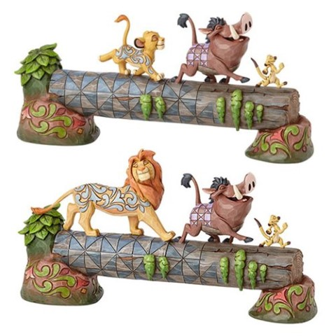 PREORDER  Carefree Camaraderie - Simba Timon & Pumbaa on Log - Disney Traditions