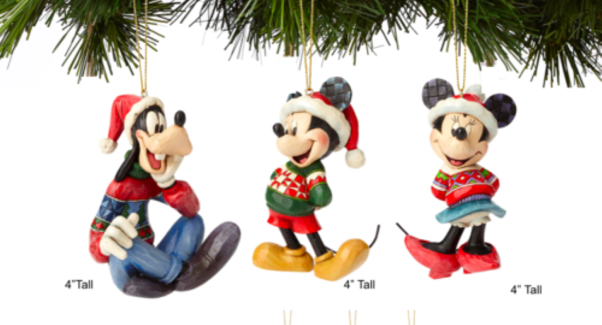 Set of 3 Mickey, Minnie & Goofy Hanging Ornaments - Disney Traditions
