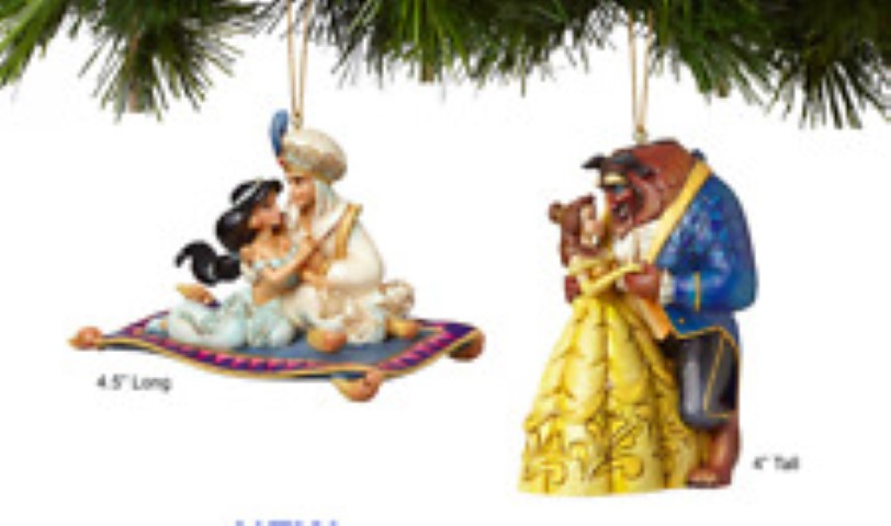 Set of 2 Aladdin and Beauty & The Beast Hanging Ornaments - Disney Traditions