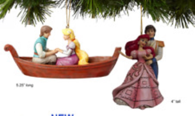 Set of 2 Tangled and Little Mermaid Hanging Ornaments - Jim Shore - Disney Traditions