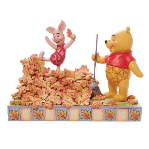 PREORDER Jumping into Fall Pooh and Piglet in Leaves