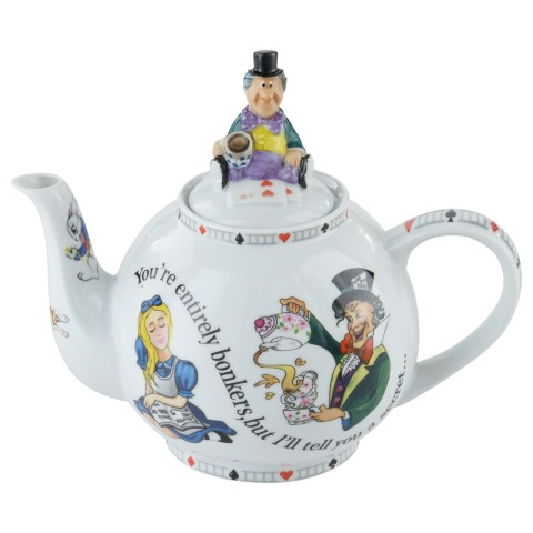 Alice in Wonderland Teapot with Mad Hatter Lid