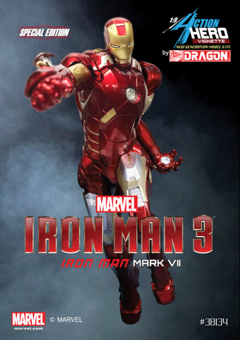 PREORDER  Iron Man 3 Mark VII with Missiles Model Kit Vignette