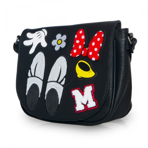 Disney Minnie Patches Black Crossbody Bag