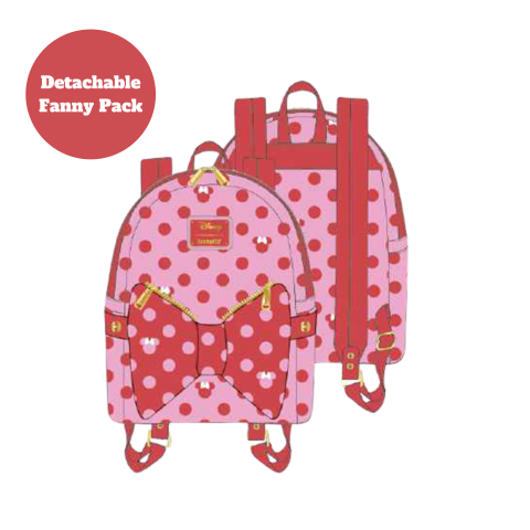 PREORDER Minnie Mouse Pink Bow 2 in 1 Bumbag Mini Backpack