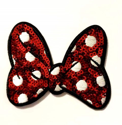 Minnie Red Bow Iron On Patch