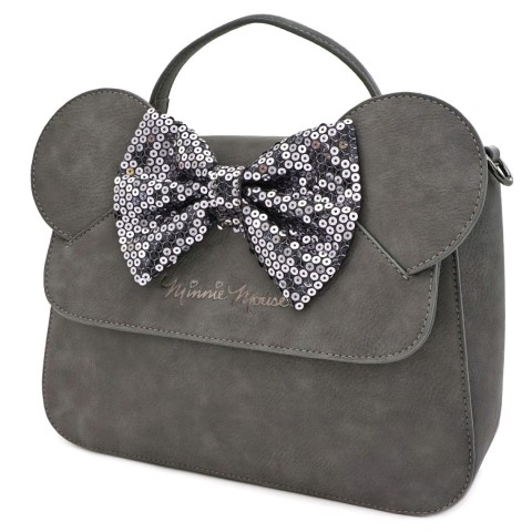 Minnie Mouse Grey w Bow Crossbody Bag