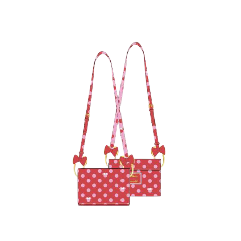 PREORDER Minnie Mouse Pink Polka Dot Bow Strap Crossbody Bag