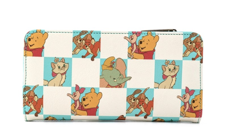 Disney Multi Character Checker Mint Flap Wallet