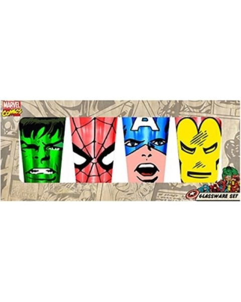 Marvel 4 Piece Faces Coloured Pint Glasses Set