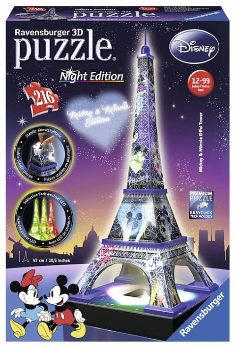 Mickey & Minnie Eiffel Tower 3D Puzzle Night Edition
