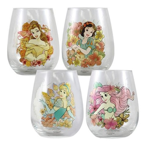 Disney Princess 18oz Contour Glass 4Pack