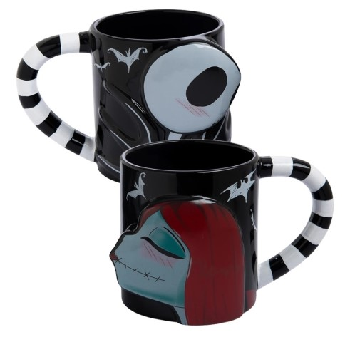 Jack & Sally Sculpted Ceramic Mug Set of 2